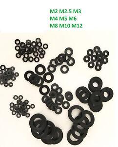 M2, M2.5, M3, M4,M5, M6, M8, M10, M12 black Plastic Nylon Flat Spacer Washer