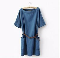 New Fashion Women Short Sleeve Casual Loose Denim Mini Dress Jeans T-Shirt Skirt