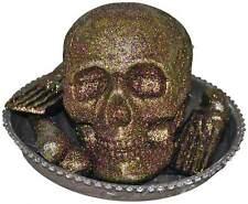 Schale m. Totenkopf Skelett Knochen Licht Halloween Grusel Deko gold 35 cm