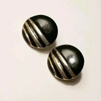 "Vintage Retro Gold Tone Stripes Black Enamel Round Circle 3/4"" Pierced Earrings"