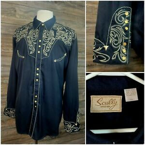 Scully Mens XXL L/S Pearl Snap Embroidered Western Cowboy Shirt Black/Gold VGC!