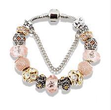 NEW Charm Bracelet with Peach Glass Beads and Charms  {looks like Pandora}
