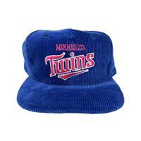 Vtg Rare MLB Minnesota Twins Blue Corduroy Twins Enterprises Snapback Hat Cap