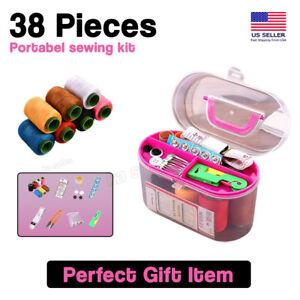 Thread Needle Sewing Kit Measure Scissor Threader Thimble Storage Box Travel Set