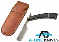 "CUSTOM HANDMADE 11"" DAMASCUS RAZOR WITH CAMEL BONE HANDLE & FREE SHEATH"