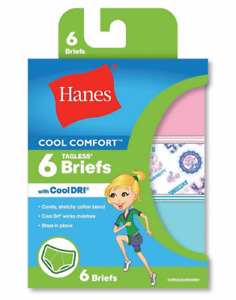 "Hanes® Girls' Cool Comfort™ Briefs with Cool Dri® 6-Pack ""ALL SIZE"" NEW !!!!"