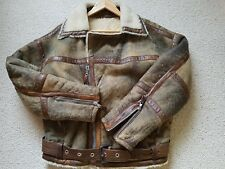 MENS JET SET 100% LEATHER SHEEPSKIN FLIGHT JACKET AVIATION SIZE 4 EXTRA LARGE