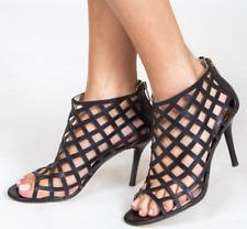 de37fd48d Size 8 Michael Kors Yvonne Caged Open Toe Black Leather HEELS BOOTIES Shoes