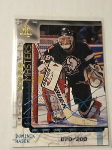 1998-99 UD SP Authentic #SO3 Dominik Hasek SP Stat Masters #/200 Sabres
