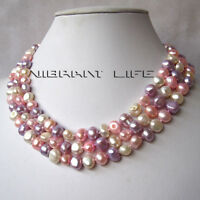 "50"" 8-9mm White Pink Gray-Blue Baroque Freshwater Pearl Necklace U"