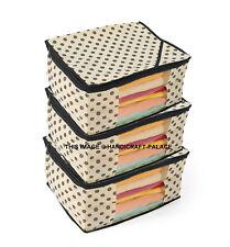 ( 3 PC) Oneside Clear Plastic Clothes Sari Saree Garment Storage cover Bag Beige