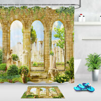 Ancient Roman Ruins Shower Curtain Liner Bathroom Set Polyester Fabric & Hooks