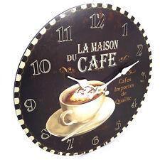 Coffee Kitchen Cafe Dark Wall Clock Kitchen, Large, 34cm, Rustic Look, AA
