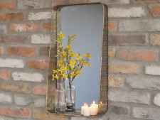 Distressed Gold Metal Industrial Vintage Chic Filigree Wall Mirror Shelf - 61cms