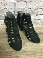 Vince Camuto Women's Black Leather Strappy Cut Out Heels Size 7.5 Zip Side EUC