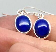 Lapis Lazuli Gemstone Oval Drop Earrings Solid Sterling Silver, Actual Ones. UK