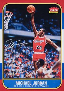 1986 Fleer #57 Michael Jordan RC Rookie Card  POSTER PRINT w/Facsimile Auto 🏀💎