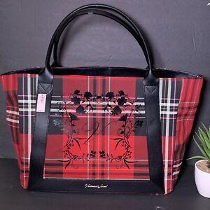 NWT $58 Victoria Secret Red Plaid Black Friday 2020 Roses Large Shopper Tote Bag