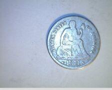 1874 US Seated Liberty Dime, Medium Grade Circulated, Silver (US-5929)