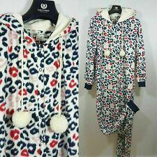 Animal Print Fleece Hooded Jumpsuit Red Blue Pink Pompoms Lady Girl Size M 10/12