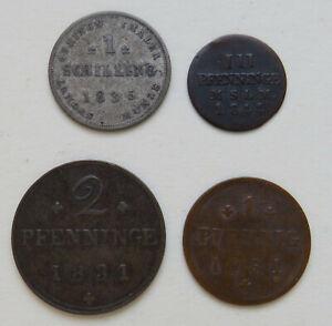 Mecklenburg-Schwerin, Schilling 1835, 3 Pfennig 1844, 2 Pfennig, Pfennig 1831