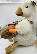 "1995 Cuddle Wit Easter Duck 24""Stuffed Plush White Apron basket Feet VTG New OS"