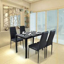Black Glass Dining Table With 4 Chairs Set Faux Leather Dining room