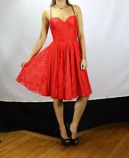 Guess NWT Sexy Red Lace Cleavage Holiday Cocktail Evening Designer Dress SZ 8