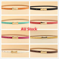 Ladies Slim Fashion Waist Belt Dress Access Thin Skinny PU Leather Belt Women