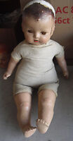 """BIG Vintage 1930s Composition Cloth Baby Boy Character Doll 24"""" Tall to Restore"""