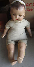 "BIG Vintage 1930s Composition Cloth Baby Boy Character Doll 24"" Tall to Restore"