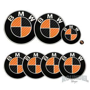 For BMW Badge Gloss Carbon Fibre Black & Orange All Models Decals Stickers Fiber