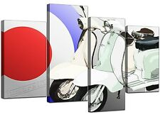 Large Scooter Canvas Mod 60's Wall Art Pictures SET XL Prints Red 4150