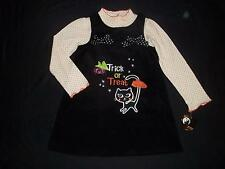 NWT Girl 2T TRICK OR TREAT Halloween Black Jumper Dress Outfit Set Clothes Lot