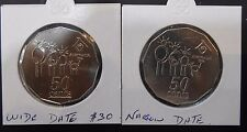 1994 Narrow & Wide DateYear of the Family Australia 50 Cent UNC Coin variety