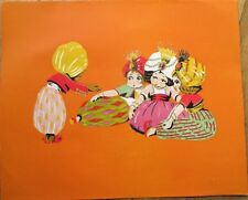 Candy/Hat Box 1920s Art Deco Large Label - Children in Turbans, Color Litho