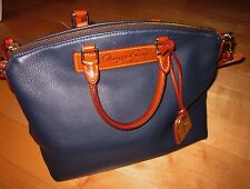 Dooney & Bourke Navy Blue Leather Shoulder Satchel Bag Purse *Sharp Must C*