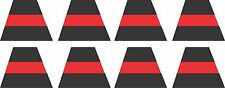 Firefighter Helmet Decal - Set of 8 Black/Red Line Reflective Traps 1.75""