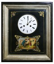 Late 19C Antique Austrian Wall Lacquer Clock w Picture & Enamel Dial