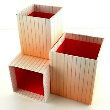 IKEA Hejsan Orange Striped Pen Organizer Nesting Box Storage Cubby Containers
