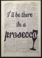 Prosecco Citation Impression Vintage Dictionary Page Image Art Mural Drôle Amis