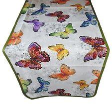 Tovaglia RUNNER striscia tappeto per tavolo cotone farfalle verde