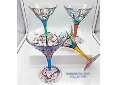 """AMALFI"" MARTINI GLASSES - SET OF FOUR - HAND PAINTED VENETIAN GLASSWARE"