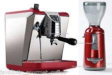 Simonelli Oscar II Espresso Machine & Grinta Coffee Grinder Combo, Red