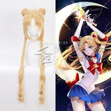 Anime Tsukino Usagi Sailor Moon Cosplay Yellow Wig Long Hair Hairpieces