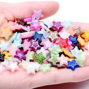 10mm 75p Star Resin Flatback Imitation Half Pearl Cabochons Scrapbook Craft DIY