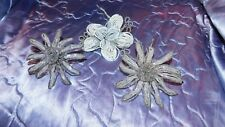 ANTIQUE, VINTAGE FRENCH GLASS SEED BEAD HAND MADE FLOWERS & 21 SMALL PICKS