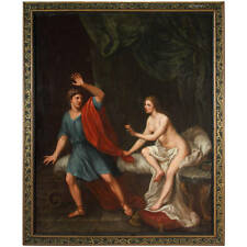 Early 19th Century Italian Oil/Canvas Depicting Joseph & the Wife of Potiphar