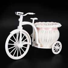 Plastic White Tricycle Bike Design Flower Basket Storage Party Decor 26cm E&F