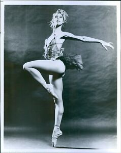 Vintage Lovely Ballerina Poses Like Bird In Feathered Costume Dancers Photo 8X10